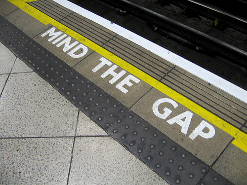 GrowEQ: Mind the Gap warning painted on train platform